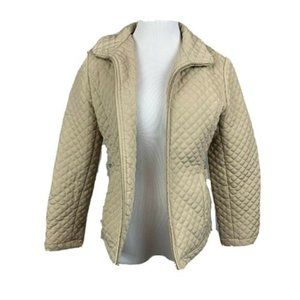 Gallery Petite zip front tan quilted jacket